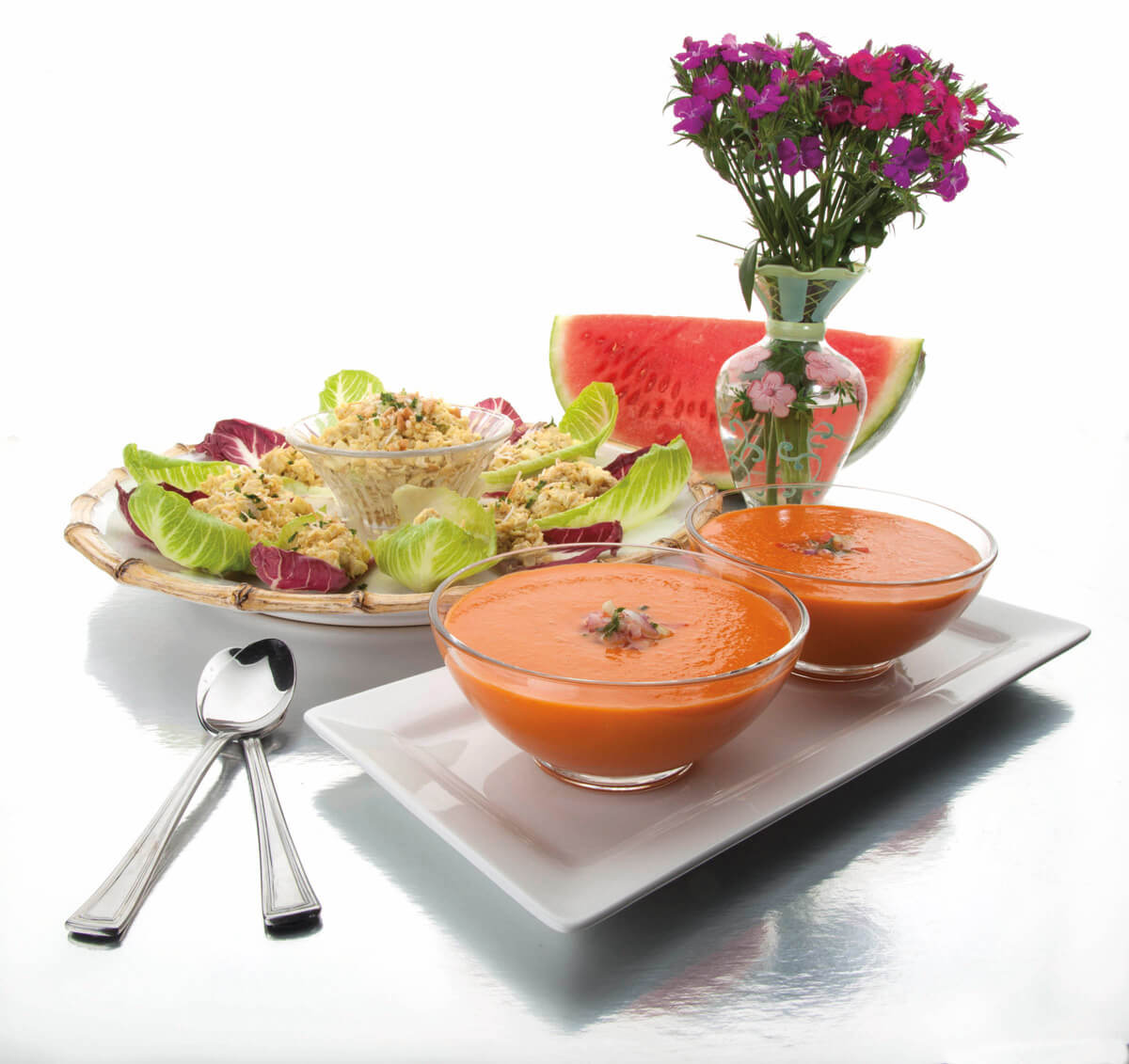 Watermelon Gazpacho and Curried Coconut Chicken Salad