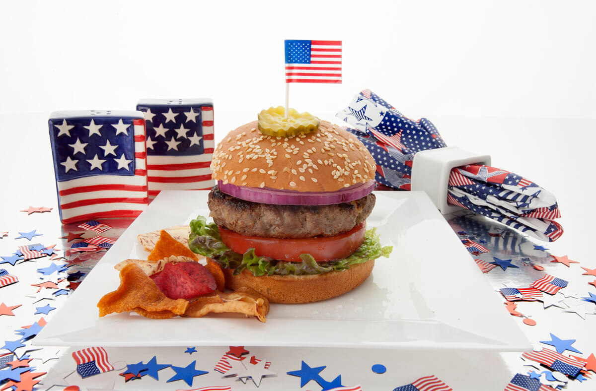 Grilled Hamburgers with Fireworks Coleslaw