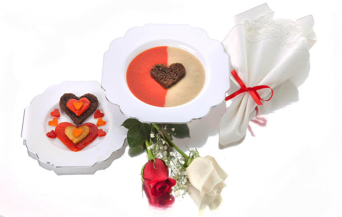 Valentine's Day Two Soups in One Bowl