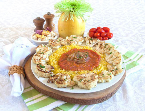 Baked Spaghetti Squash with Braised Garlic Tomato Sauce and Roasted Cauliflower