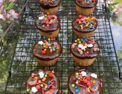 Chocolate Glazed 1-2-3-4 Cupcakes